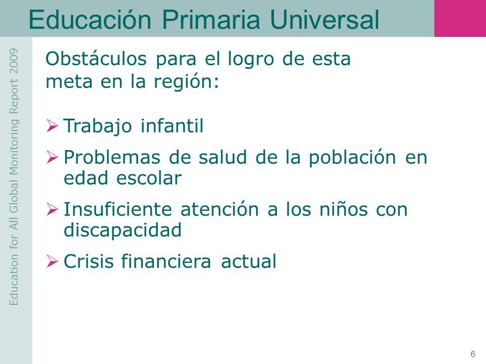Education for All Global Monitoring Report 2009 17 Calidad de la Educación PAÍS Matemática 3ºLectura 3º Matemática 6ºLectura 6ºCiencias 6º Argentina10,478,3712,3419,221,17 Brasil12,077,078,8022,46- Chile14,0217,7613,5229,26- Colombia6,678,525,4617,801,02 Costa Rica13,6518,2218,9634,59- Cuba54,3644,2751,1350,6834,73 Ecuador4,142,104,345,73- El Salvador3,645,403,469,540,71 Guatemala2,081,911,964,99- México15,5912,0919,624,39- Nicaragua1,971,701,765,22- Panamá2,753,912,339,550,77 Paraguay2,753,912,339,550,77 Perú4,773,659,299,460,36 R.