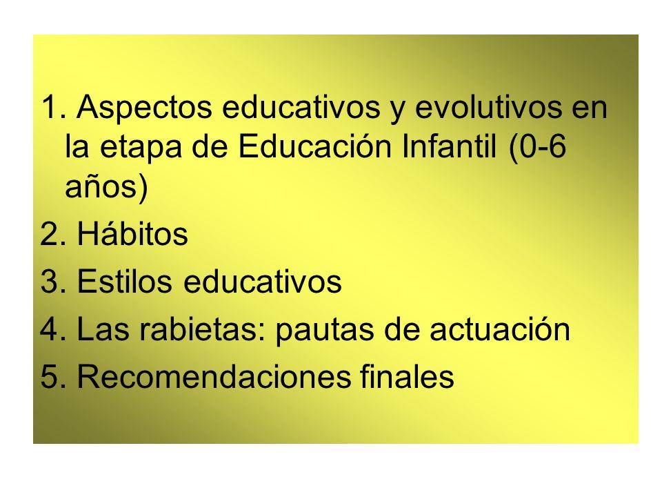 1. Aspectos educativos y evolutivos en la etapa de Educación Infantil (0-6 años) 2. Hábitos 3. Estilos educativos 4. Las rabietas: pautas de actuación