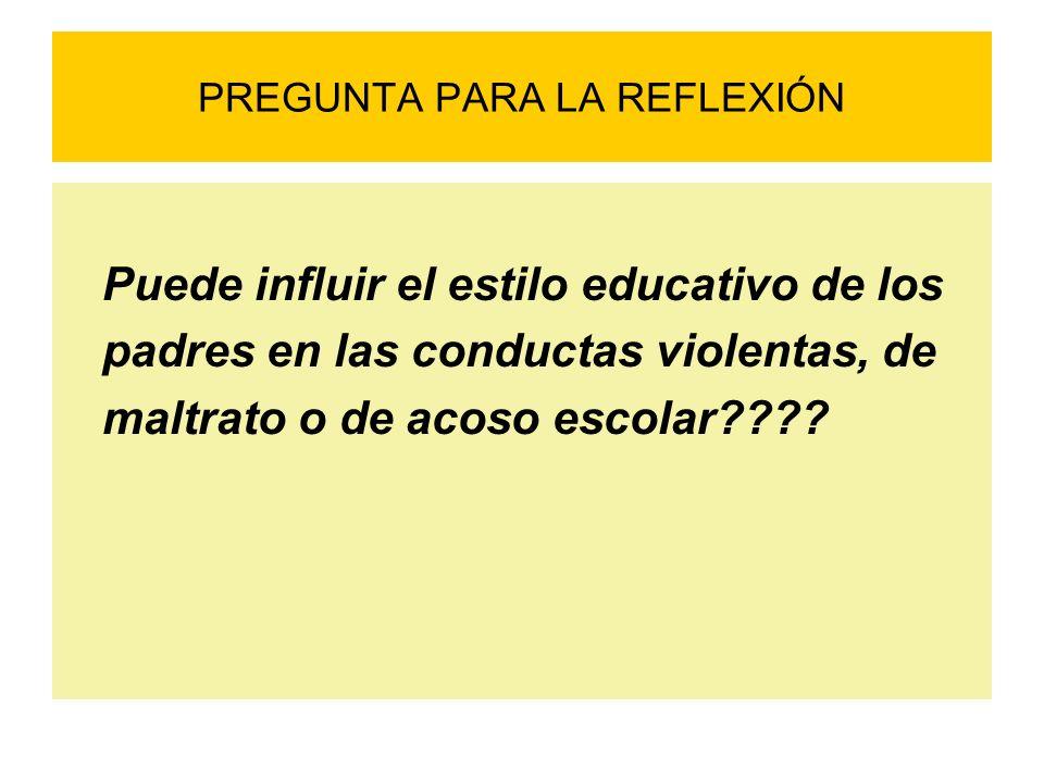 PREGUNTA PARA LA REFLEXIÓN Puede influir el estilo educativo de los padres en las conductas violentas, de maltrato o de acoso escolar????