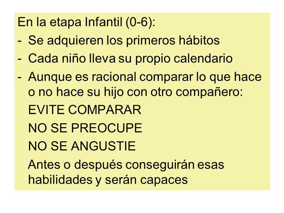 En la etapa Infantil (0-6): -Se adquieren los primeros hábitos -Cada niño lleva su propio calendario -Aunque es racional comparar lo que hace o no hac