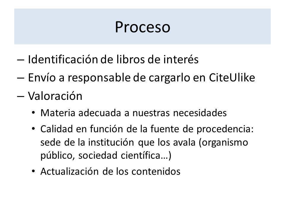Proceso – Identificación de libros de interés – Envío a responsable de cargarlo en CiteUlike – Valoración Materia adecuada a nuestras necesidades Cali