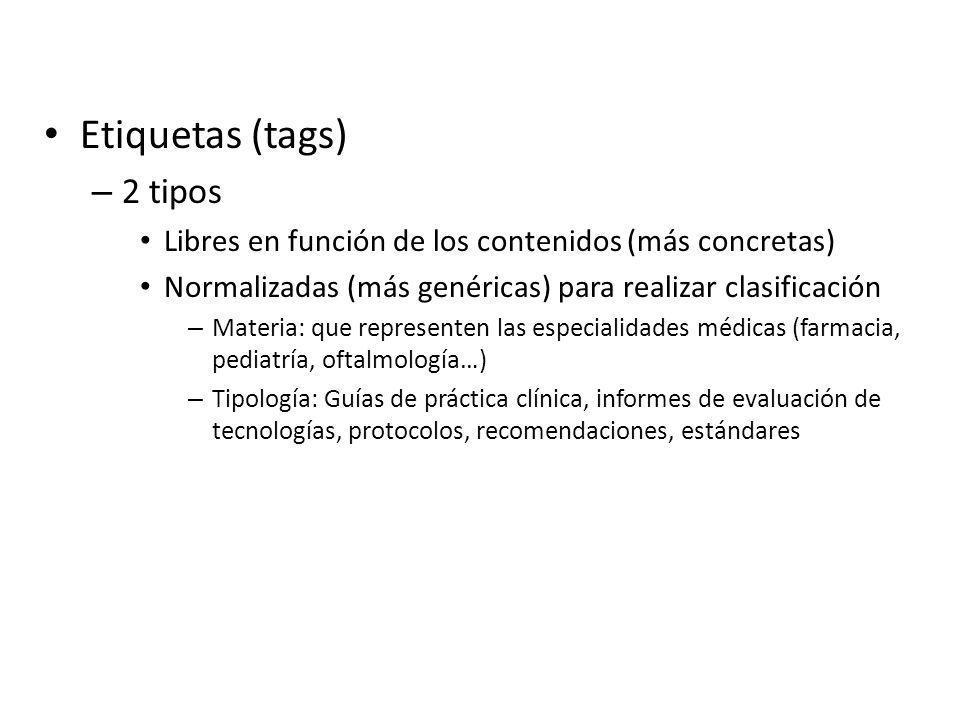 Etiquetas (tags) – 2 tipos Libres en función de los contenidos (más concretas) Normalizadas (más genéricas) para realizar clasificación – Materia: que