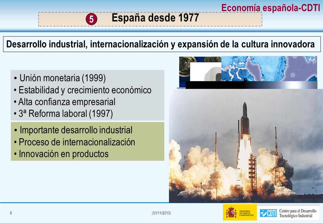 9(01/11/2013) Unión monetaria (1999) Estabilidad y crecimiento económico Alta confianza empresarial 3ª Reforma laboral (1997) Importante desarrollo industrial Proceso de internacionalización Innovación en productos Desarrollo industrial, internacionalización y expansión de la cultura innovadora Economía española-CDTI España desde 1977 5