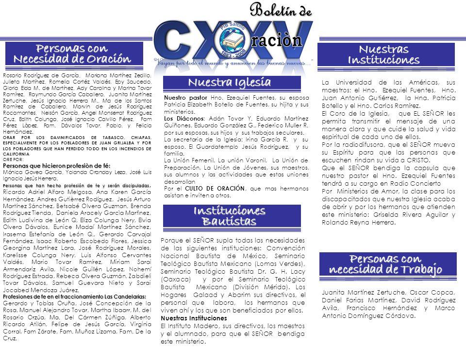 Boletín de Nuestra Iglesia Instituciones Bautistas NuestrasInstituciones Personas con necesidad de Trabajo Personas con Necesidad de Oración Rosario R