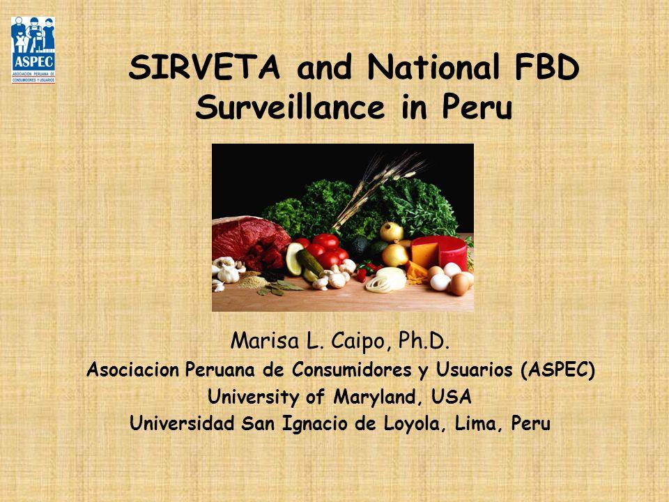 SIRVETA and National FBD Surveillance in Peru Marisa L. Caipo, Ph.D. Asociacion Peruana de Consumidores y Usuarios (ASPEC) University of Maryland, USA