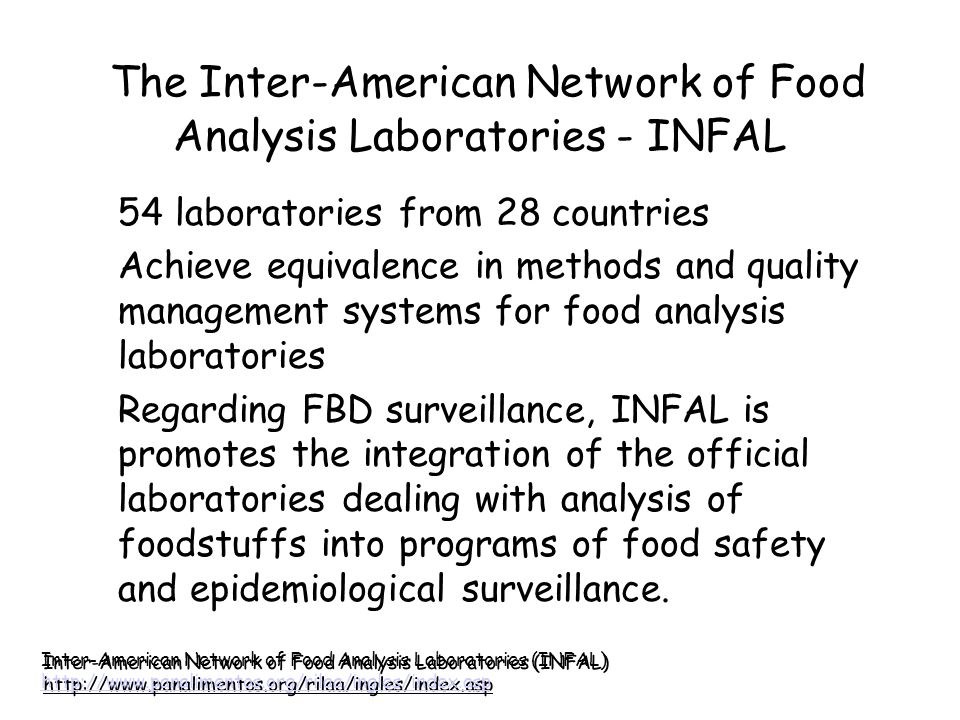 The Inter-American Network of Food Analysis Laboratories - INFAL 54 laboratories from 28 countries Achieve equivalence in methods and quality manageme