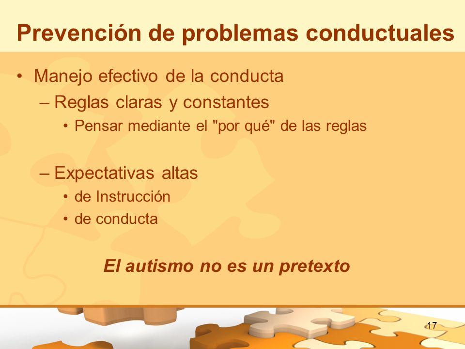 17 Prevención de problemas conductuales Manejo efectivo de la conducta –Reglas claras y constantes Pensar mediante el