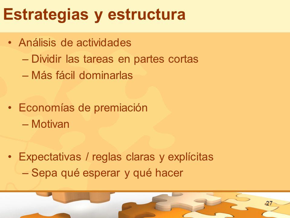 27 Estrategias y estructura Análisis de actividades –Dividir las tareas en partes cortas –Más fácil dominarlas Economías de premiación –Motivan Expect