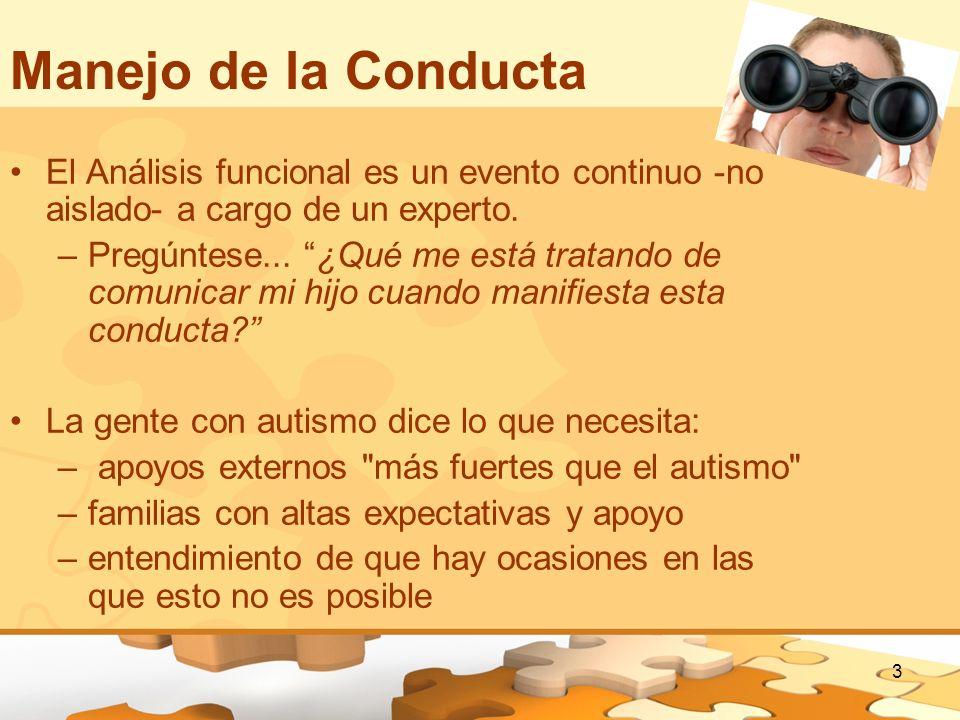 3 Manejo de la Conducta El Análisis funcional es un evento continuo -no aislado- a cargo de un experto. –Pregúntese... ¿Qué me está tratando de comuni