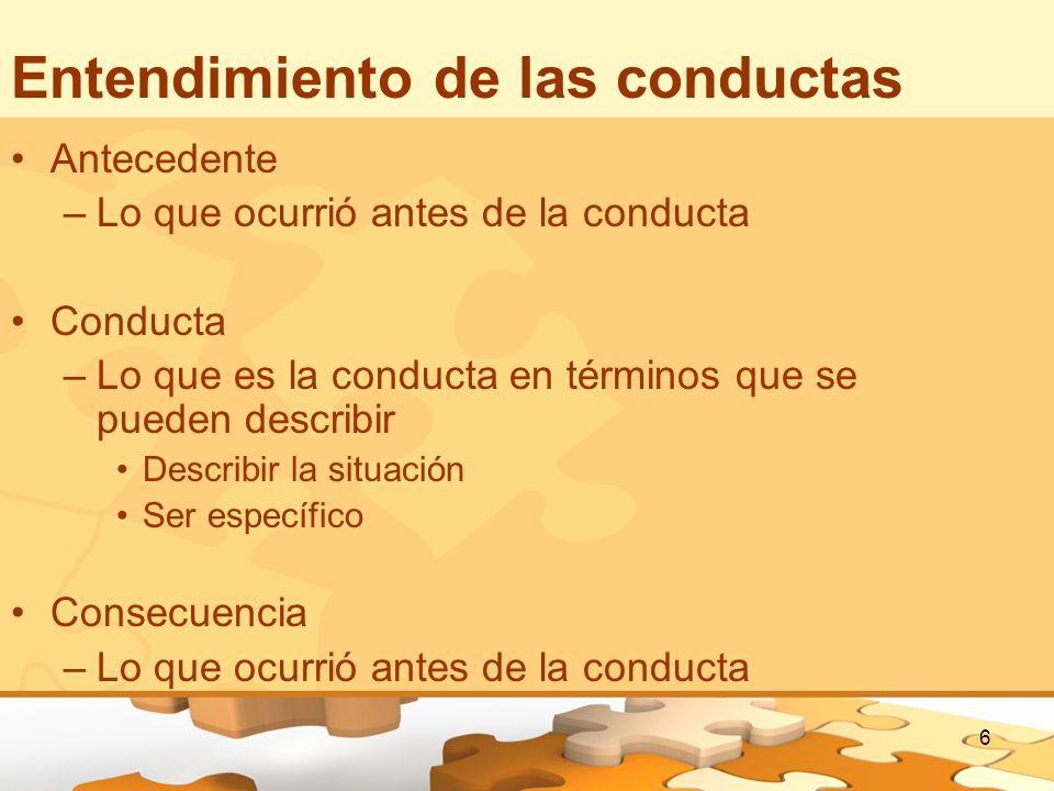 6 Entendimiento de las conductas Antecedente –Lo que ocurrió antes de la conducta Conducta –Lo que es la conducta en términos que se pueden describir