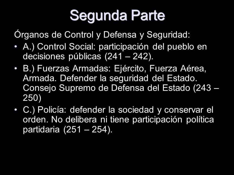 Segunda Parte Órganos de Control y Defensa y Seguridad: A.) Control Social: participación del pueblo en decisiones públicas (241 – 242). B.) Fuerzas A