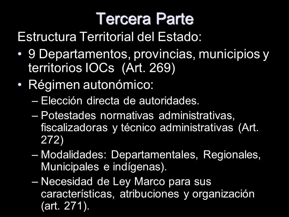 Tercera Parte Estructura Territorial del Estado: 9 Departamentos, provincias, municipios y territorios IOCs (Art. 269) Régimen autonómico: –Elección d
