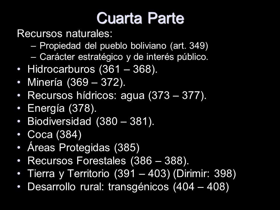 Cuarta Parte Recursos naturales: –Propiedad del pueblo boliviano (art. 349) –Carácter estratégico y de interés público. Hidrocarburos (361 – 368). Min