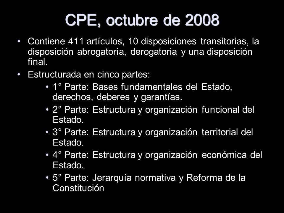 CPE, octubre de 2008 Contiene 411 artículos, 10 disposiciones transitorias, la disposición abrogatoria, derogatoria y una disposición final. Estructur