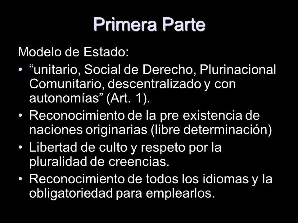 Primera Parte Modelo de Estado: unitario, Social de Derecho, Plurinacional Comunitario, descentralizado y con autonomías (Art. 1). Reconocimiento de l
