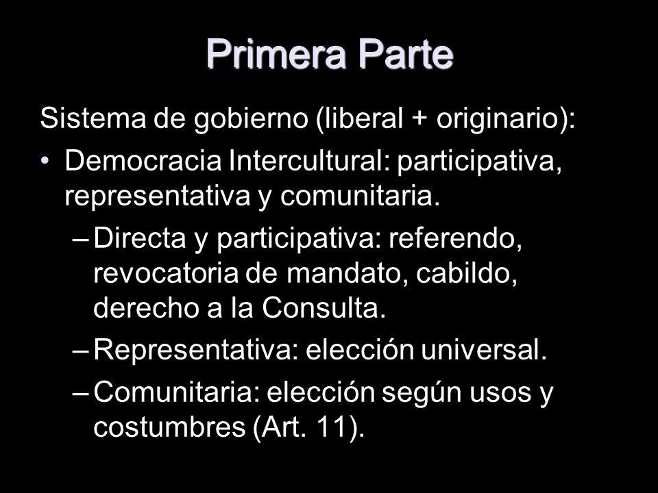 Primera Parte Sistema de gobierno (liberal + originario): Democracia Intercultural: participativa, representativa y comunitaria. –Directa y participat