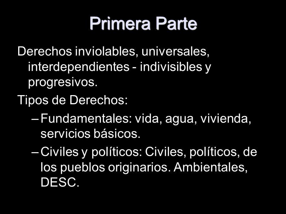 Primera Parte Derechos inviolables, universales, interdependientes - indivisibles y progresivos. Tipos de Derechos: –Fundamentales: vida, agua, vivien