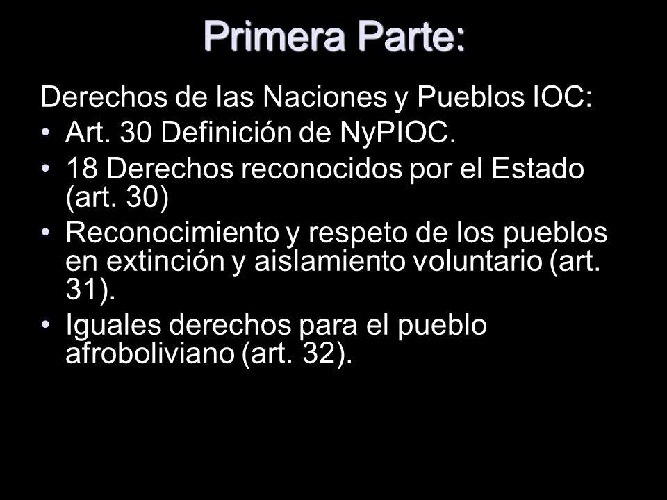 Primera Parte: Derechos de las Naciones y Pueblos IOC: Art. 30 Definición de NyPIOC. 18 Derechos reconocidos por el Estado (art. 30) Reconocimiento y