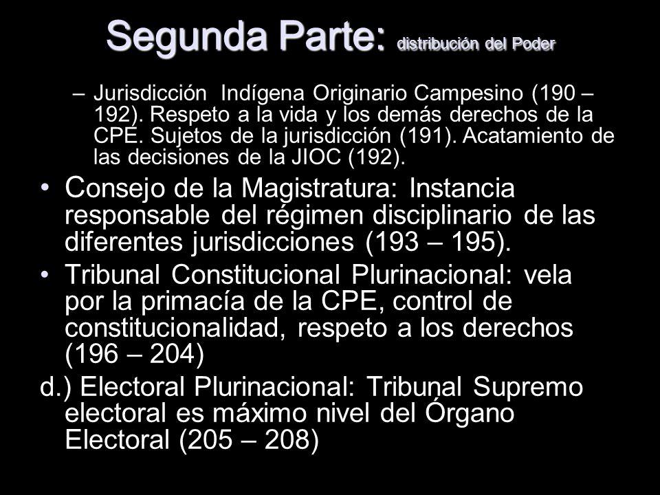 Segunda Parte: distribución del Poder –Jurisdicción Indígena Originario Campesino (190 – 192). Respeto a la vida y los demás derechos de la CPE. Sujet