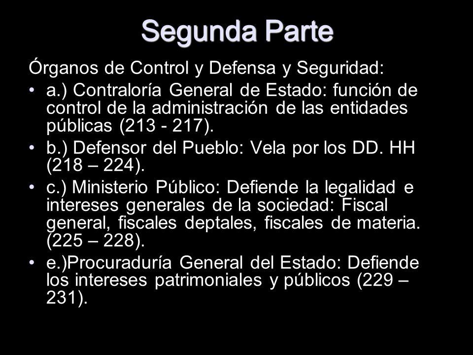 Segunda Parte Órganos de Control y Defensa y Seguridad: a.) Contraloría General de Estado: función de control de la administración de las entidades pú