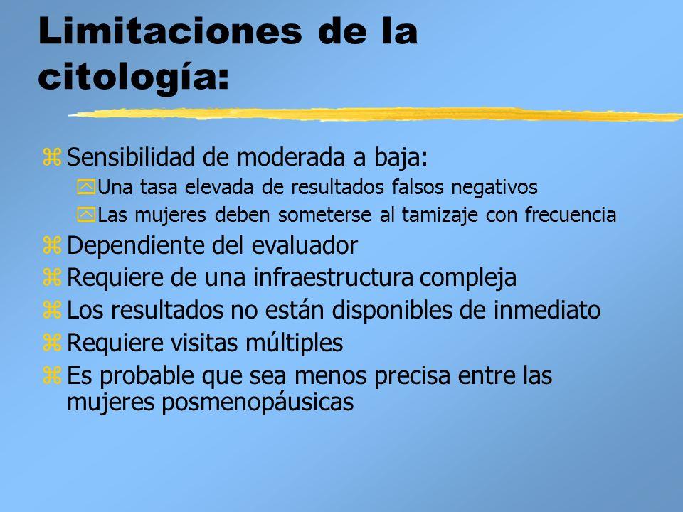 Limitaciones de la citología: zSensibilidad de moderada a baja: yUna tasa elevada de resultados falsos negativos yLas mujeres deben someterse al tamiz