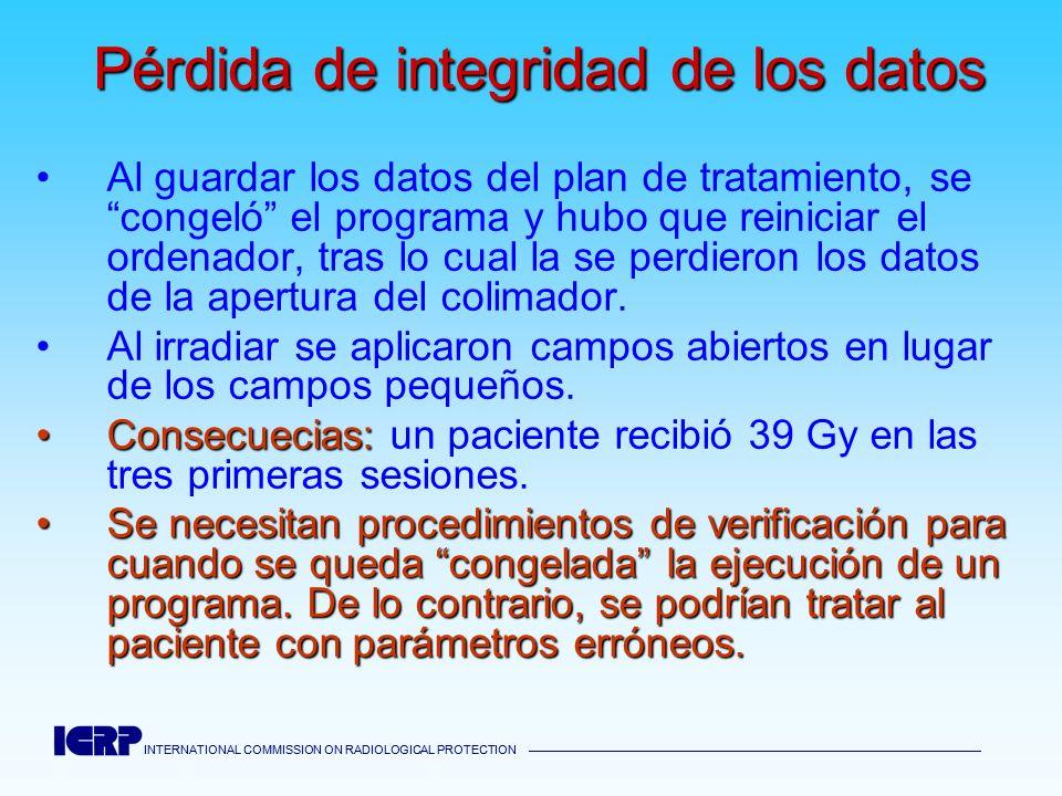 INTERNATIONAL COMMISSION ON RADIOLOGICAL PROTECTION INTERNATIONAL COMMISSION ON RADIOLOGICAL PROTECTION Pérdida de integridad de los datos Al guardar