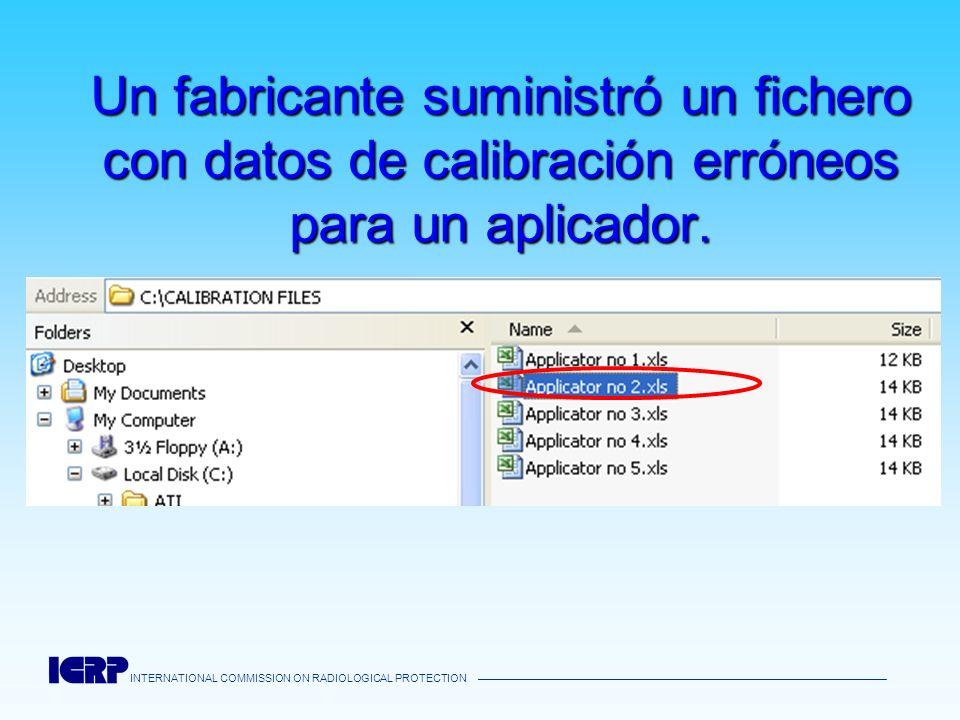 INTERNATIONAL COMMISSION ON RADIOLOGICAL PROTECTION Un fabricante suministró un fichero con datos de calibración erróneos para un aplicador.