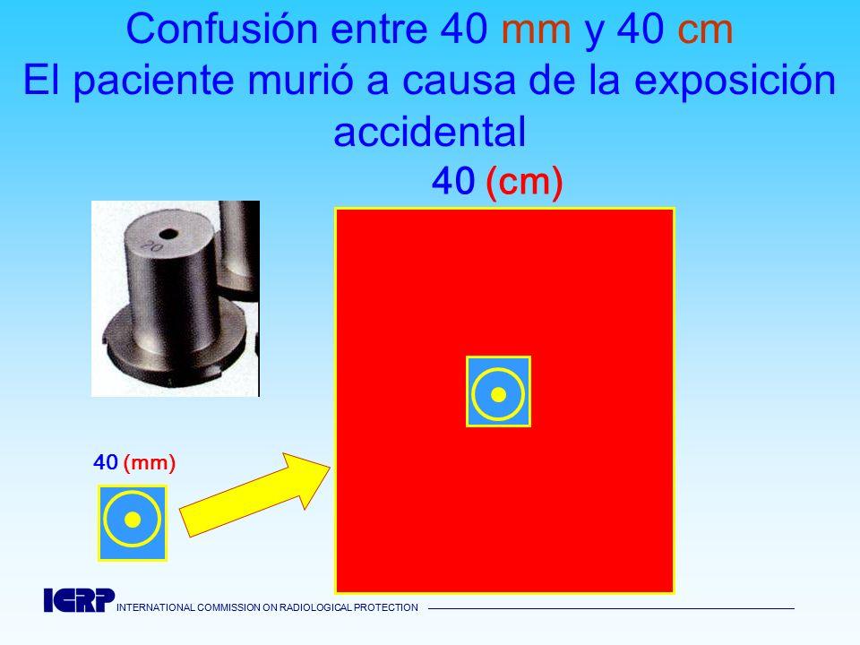 INTERNATIONAL COMMISSION ON RADIOLOGICAL PROTECTION INTERNATIONAL COMMISSION ON RADIOLOGICAL PROTECTION Confusión entre 40 mm y 40 cm El paciente muri