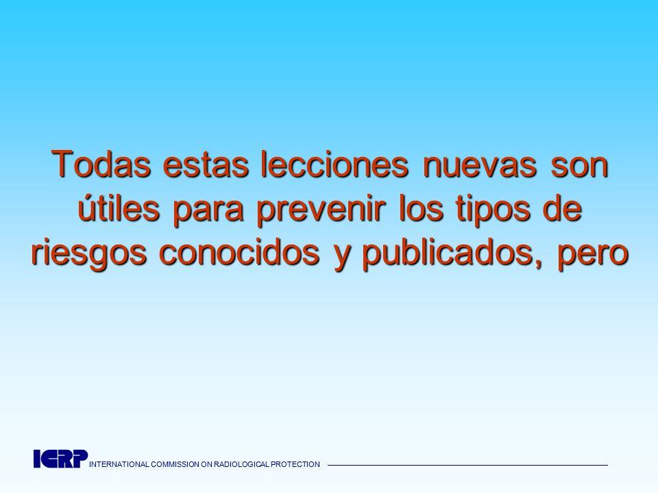 INTERNATIONAL COMMISSION ON RADIOLOGICAL PROTECTION INTERNATIONAL COMMISSION ON RADIOLOGICAL PROTECTION Todas estas lecciones nuevas son útiles para p