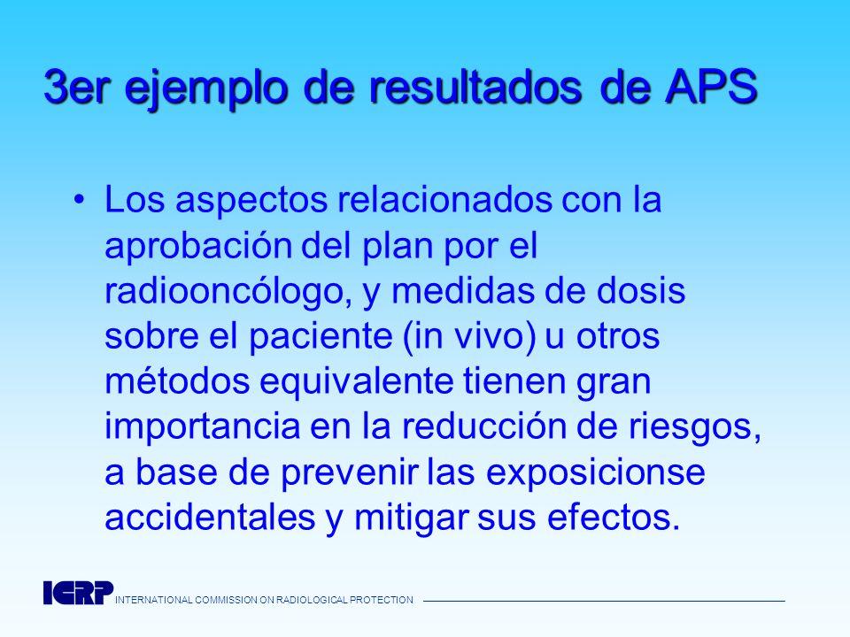INTERNATIONAL COMMISSION ON RADIOLOGICAL PROTECTION 3er ejemplo de resultados de APS Los aspectos relacionados con la aprobación del plan por el radio