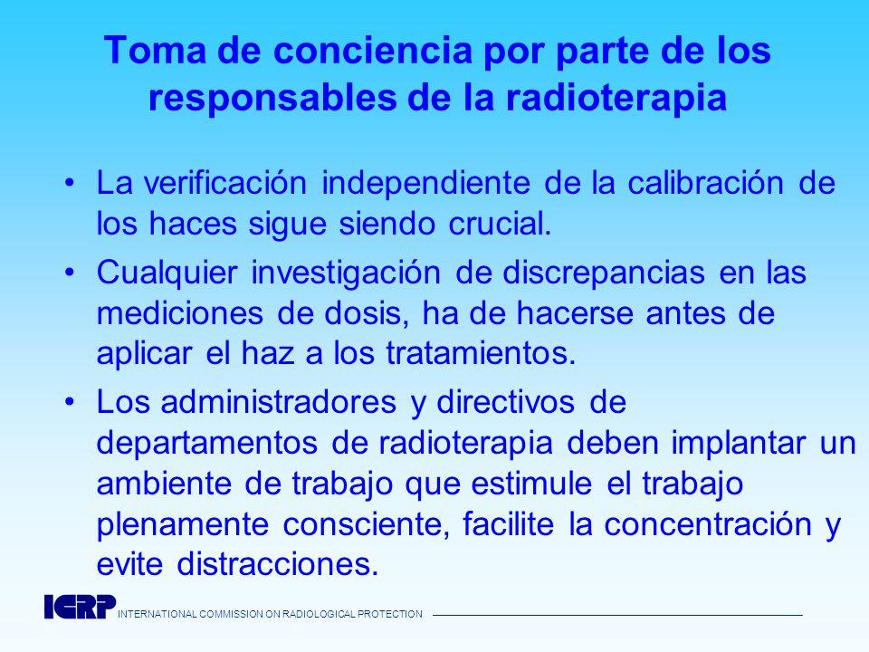 INTERNATIONAL COMMISSION ON RADIOLOGICAL PROTECTION Toma de conciencia por parte de los responsables de la radioterapia La verificación independiente