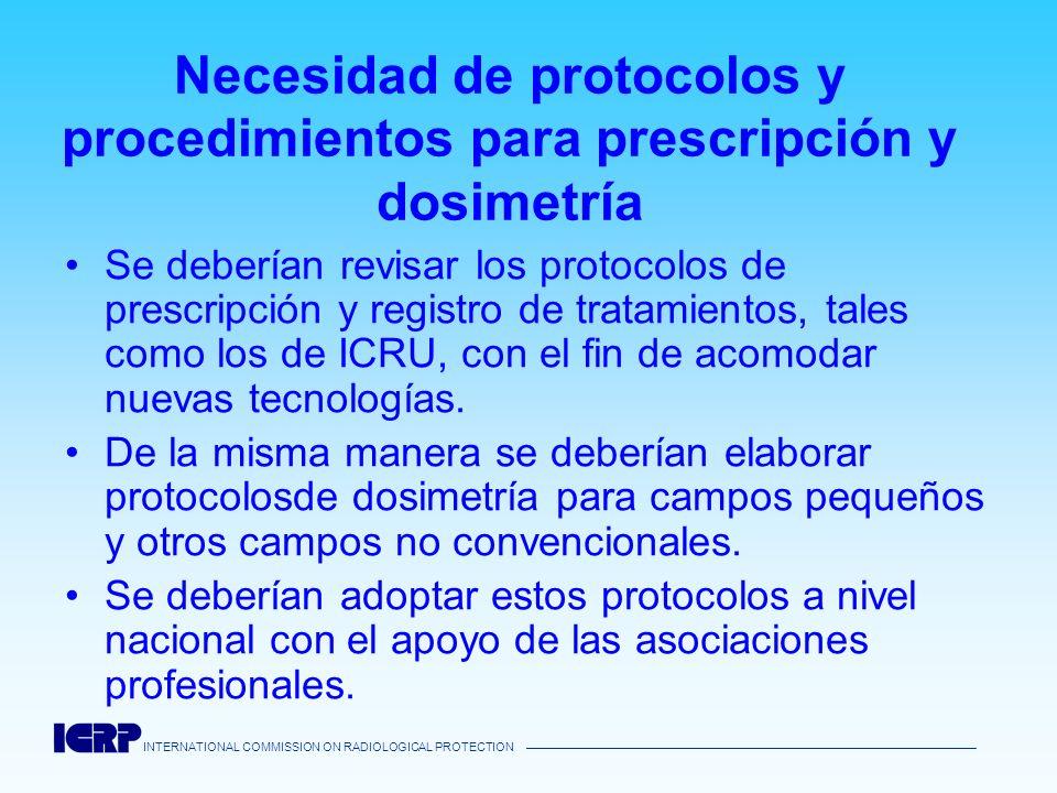 INTERNATIONAL COMMISSION ON RADIOLOGICAL PROTECTION Necesidad de protocolos y procedimientos para prescripción y dosimetría Se deberían revisar los pr