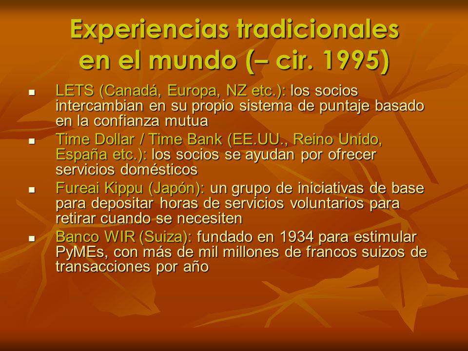 Experiencias tradicionales en el mundo (– cir. 1995) LETS (Canadá, Europa, NZ etc.): los socios intercambian en su propio sistema de puntaje basado en