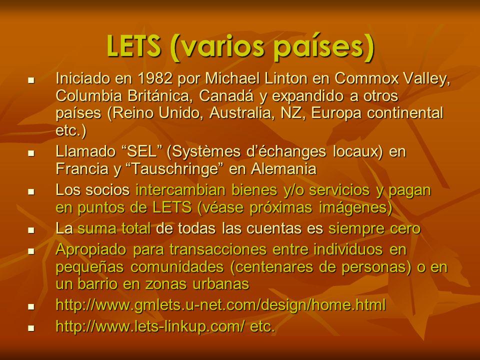 LETS (varios países) Iniciado en 1982 por Michael Linton en Commox Valley, Columbia Británica, Canadá y expandido a otros países (Reino Unido, Austral