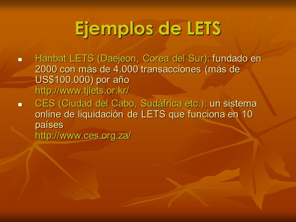 Ejemplos de LETS Hanbat LETS (Daejeon, Corea del Sur): fundado en 2000 con más de 4.000 transacciones (más de US$100.000) por año http://www.tjlets.or