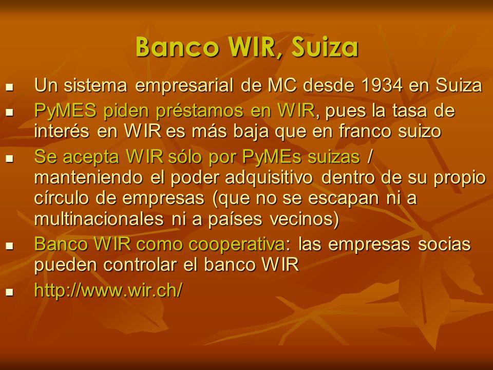 Banco WIR, Suiza Un sistema empresarial de MC desde 1934 en Suiza Un sistema empresarial de MC desde 1934 en Suiza PyMES piden préstamos en WIR, pues