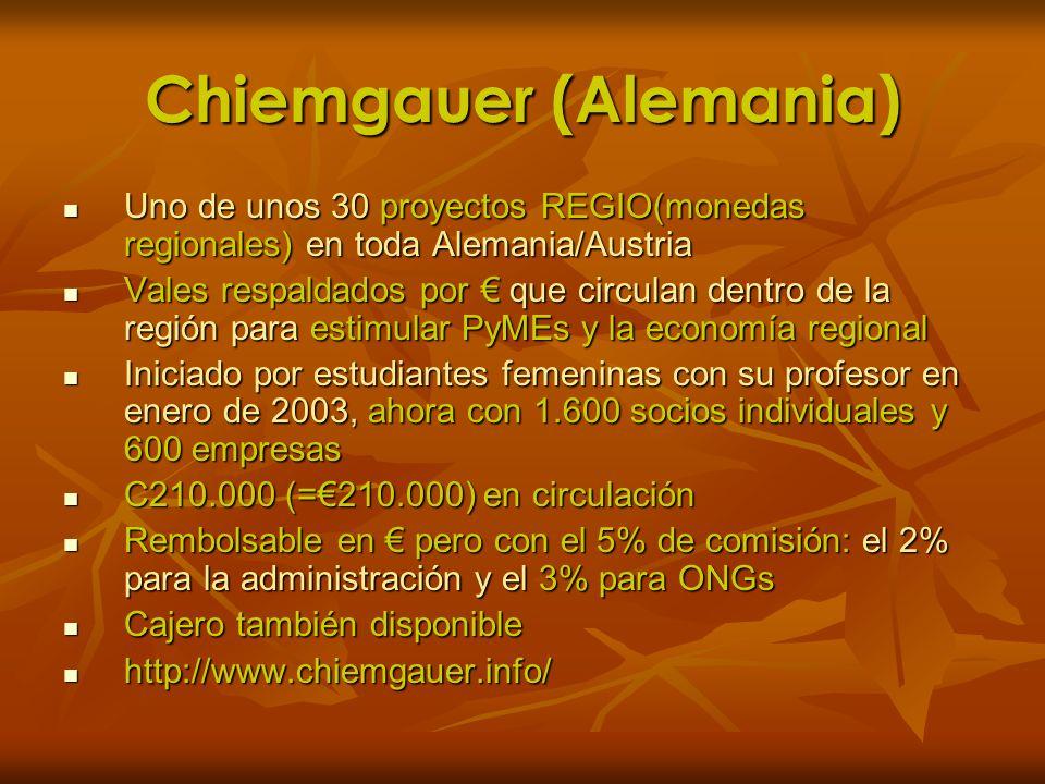 Chiemgauer (Alemania) Uno de unos 30 proyectos REGIO(monedas regionales) en toda Alemania/Austria Uno de unos 30 proyectos REGIO(monedas regionales) e