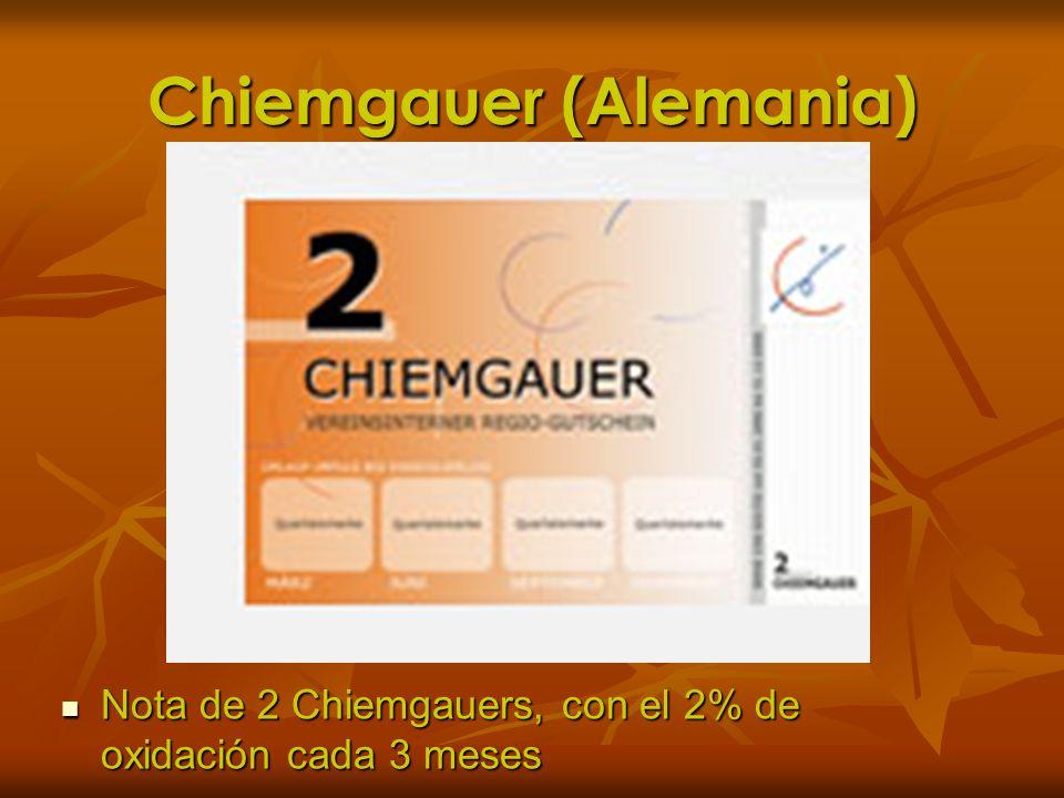 Chiemgauer (Alemania) Nota de 2 Chiemgauers, con el 2% de oxidación cada 3 meses Nota de 2 Chiemgauers, con el 2% de oxidación cada 3 meses