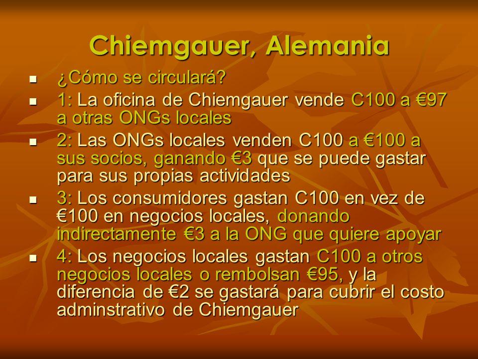 Chiemgauer, Alemania ¿Cómo se circulará? ¿Cómo se circulará? 1: La oficina de Chiemgauer vende C100 a 97 a otras ONGs locales 1: La oficina de Chiemga