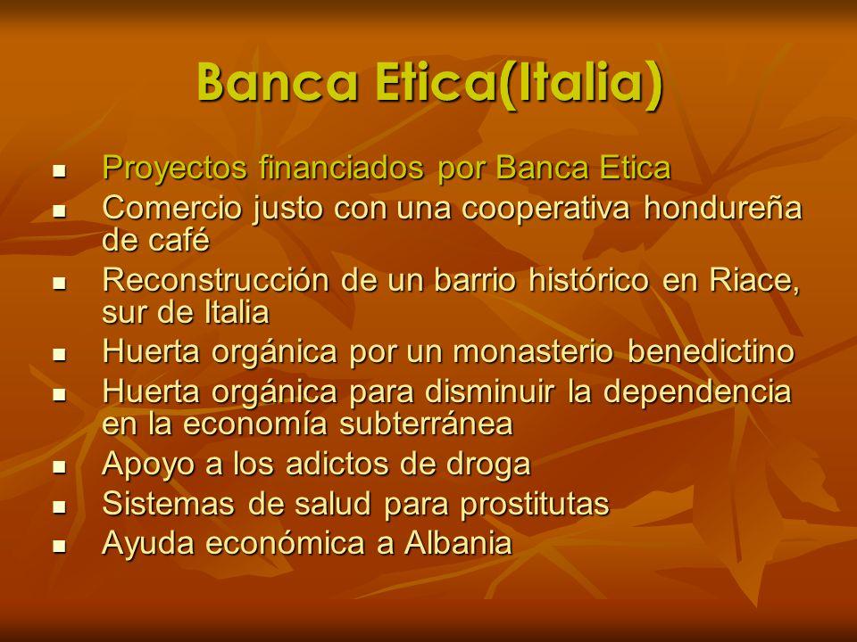 Banca Etica(Italia) Proyectos financiados por Banca Etica Proyectos financiados por Banca Etica Comercio justo con una cooperativa hondureña de café C