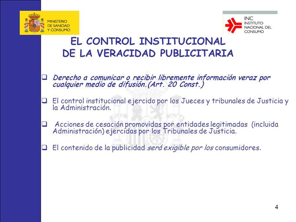 4 EL CONTROL INSTITUCIONAL DE LA VERACIDAD PUBLICITARIA Derecho a comunicar o recibir libremente información veraz por cualquier medio de difusión.(Ar