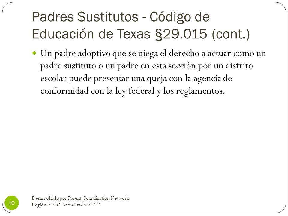 Padres Sustitutos - Código de Educación de Texas §29.015 (cont.) Un padre adoptivo que se niega el derecho a actuar como un padre sustituto o un padre
