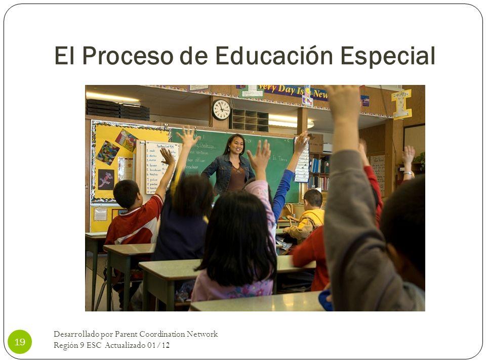 El Proceso de Educación Especial Desarrollado por Parent Coordination Network Región 9 ESC Actualizado 01/12 19