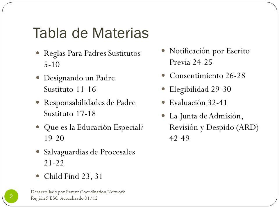 Tabla de Materias Reglas Para Padres Sustitutos 5-10 Designando un Padre Sustituto 11-16 Responsabilidades de Padre Sustituto 17-18 Que es la Educació