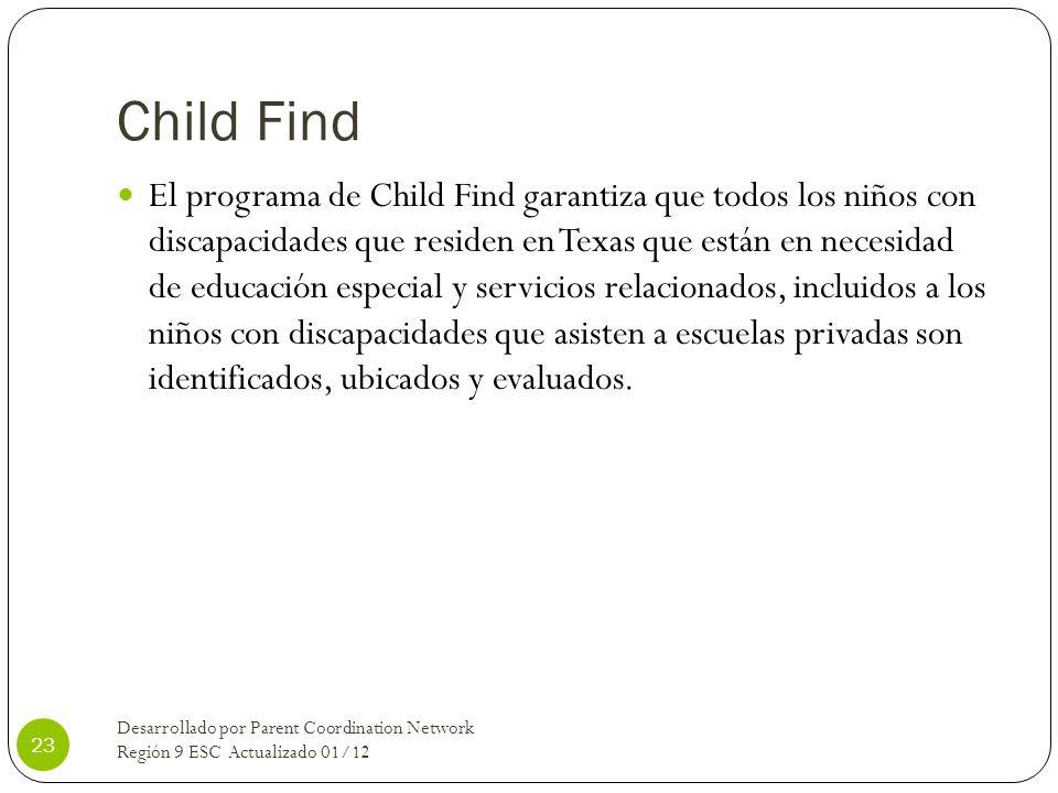 Child Find El programa de Child Find garantiza que todos los niños con discapacidades que residen en Texas que están en necesidad de educación especia