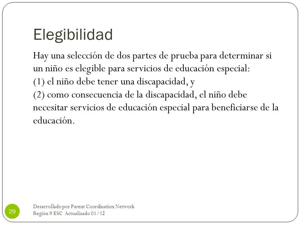 Elegibilidad Hay una selección de dos partes de prueba para determinar si un niño es elegible para servicios de educación especial: (1) el niño debe t