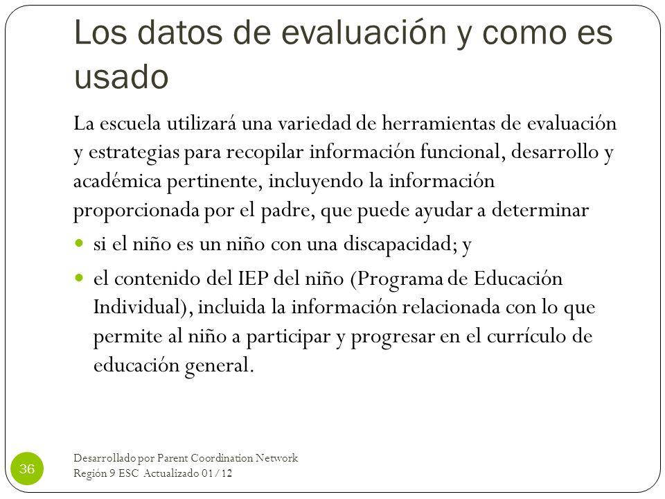 Los datos de evaluación y como es usado La escuela utilizará una variedad de herramientas de evaluación y estrategias para recopilar información funci