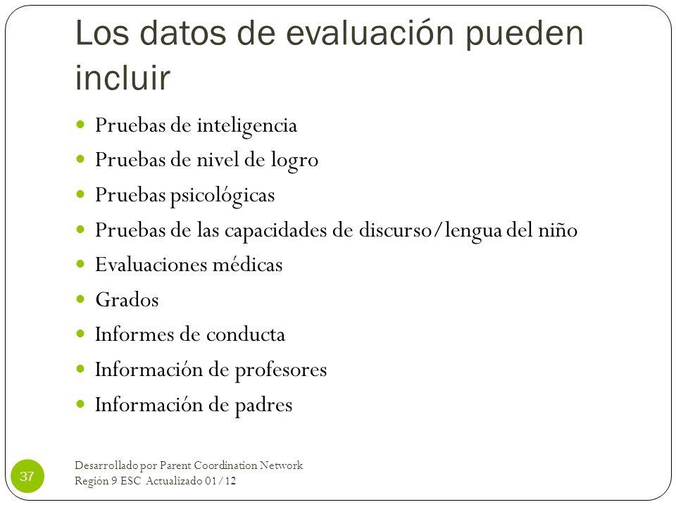 Los datos de evaluación pueden incluir Pruebas de inteligencia Pruebas de nivel de logro Pruebas psicológicas Pruebas de las capacidades de discurso/l