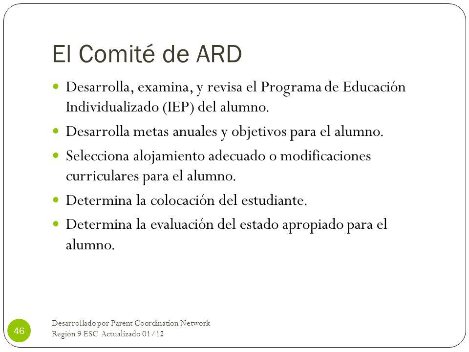 El Comité de ARD Desarrolla, examina, y revisa el Programa de Educación Individualizado (IEP) del alumno. Desarrolla metas anuales y objetivos para el