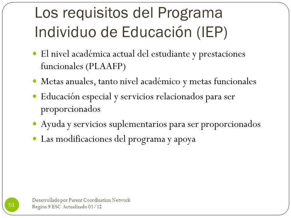Los requisitos del Programa Individuo de Educación (IEP) El nivel académica actual del estudiante y prestaciones funcionales (PLAAFP) Metas anuales, t